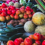 Fresh fruit and veggies, road stand in Belize