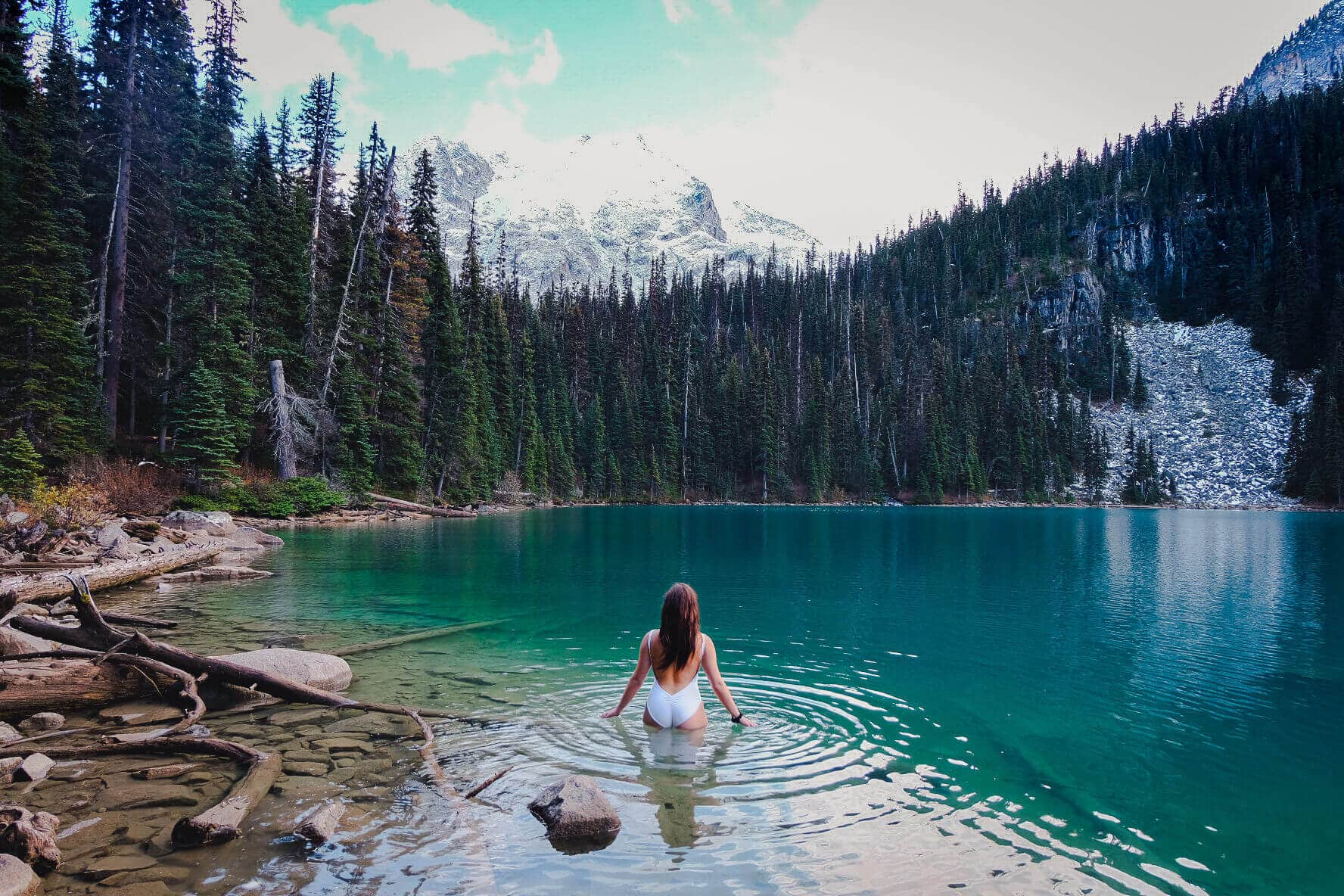Swimming in Joffre Lakes, Canada
