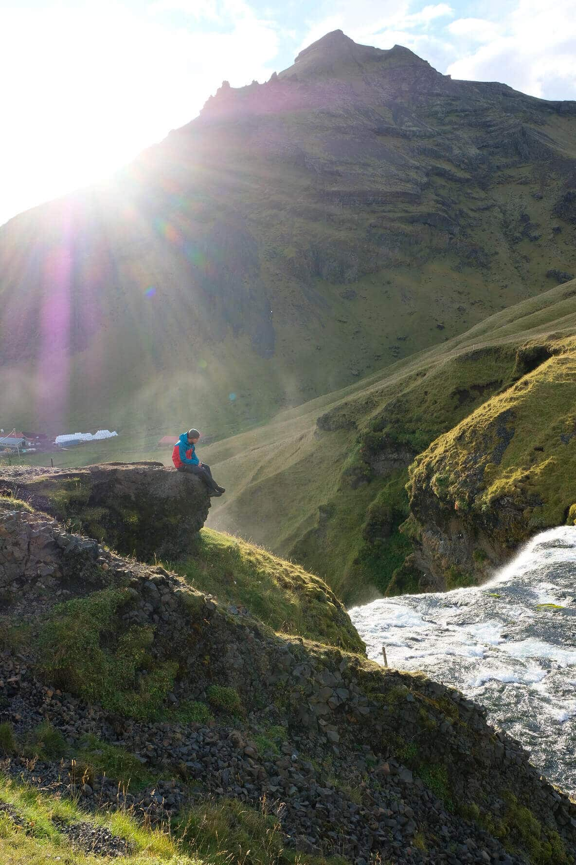 Hiking to the top of Skogafoss, Iceland road trip itinerary