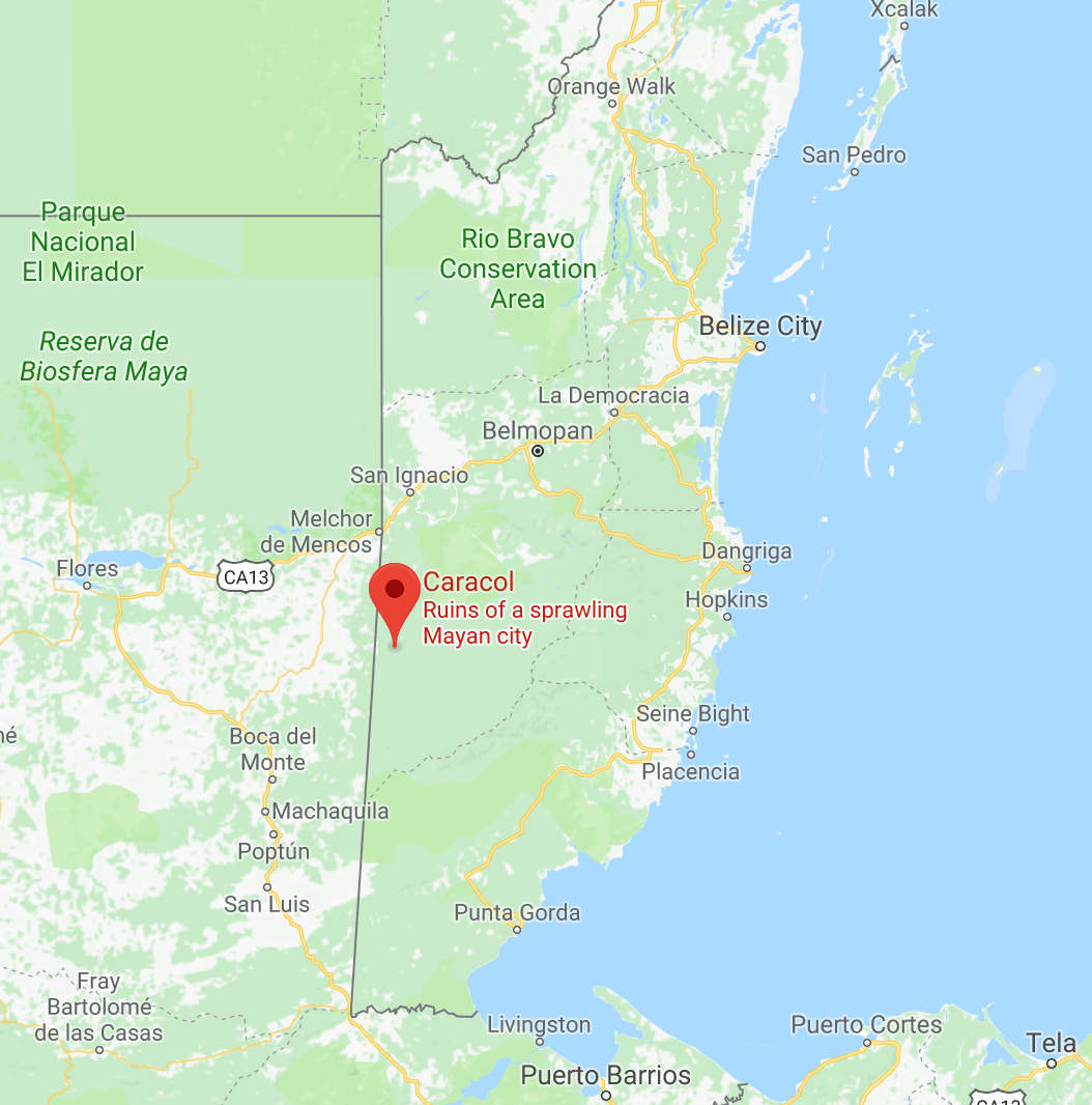 Location of Caracol Belize