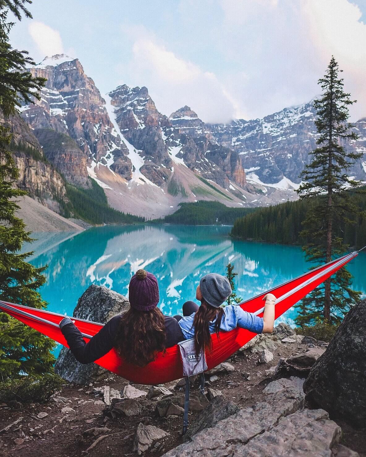 Hammock on Moraine Lake in Banff National Park