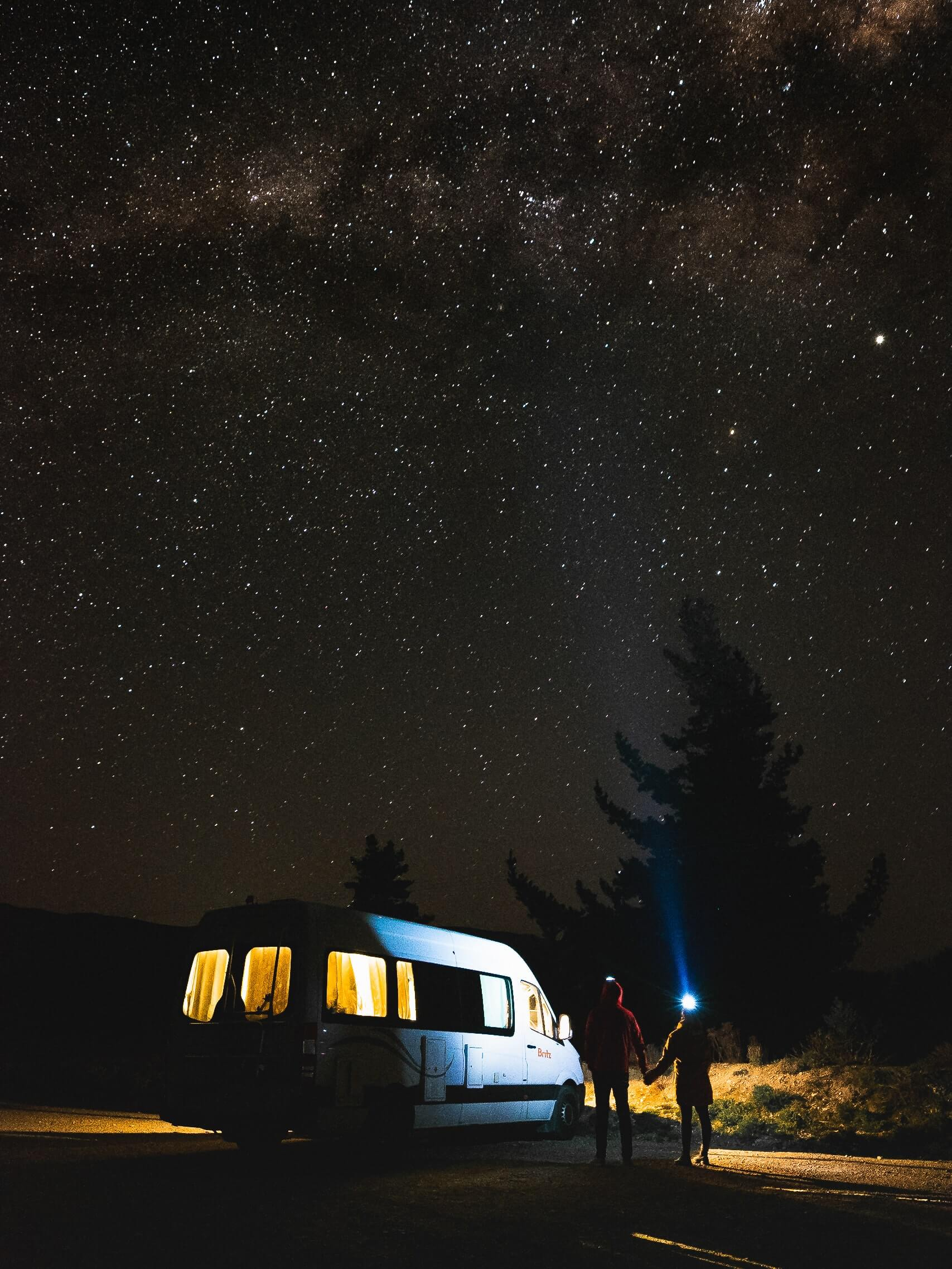 Starry sky over the South Island of New Zealand