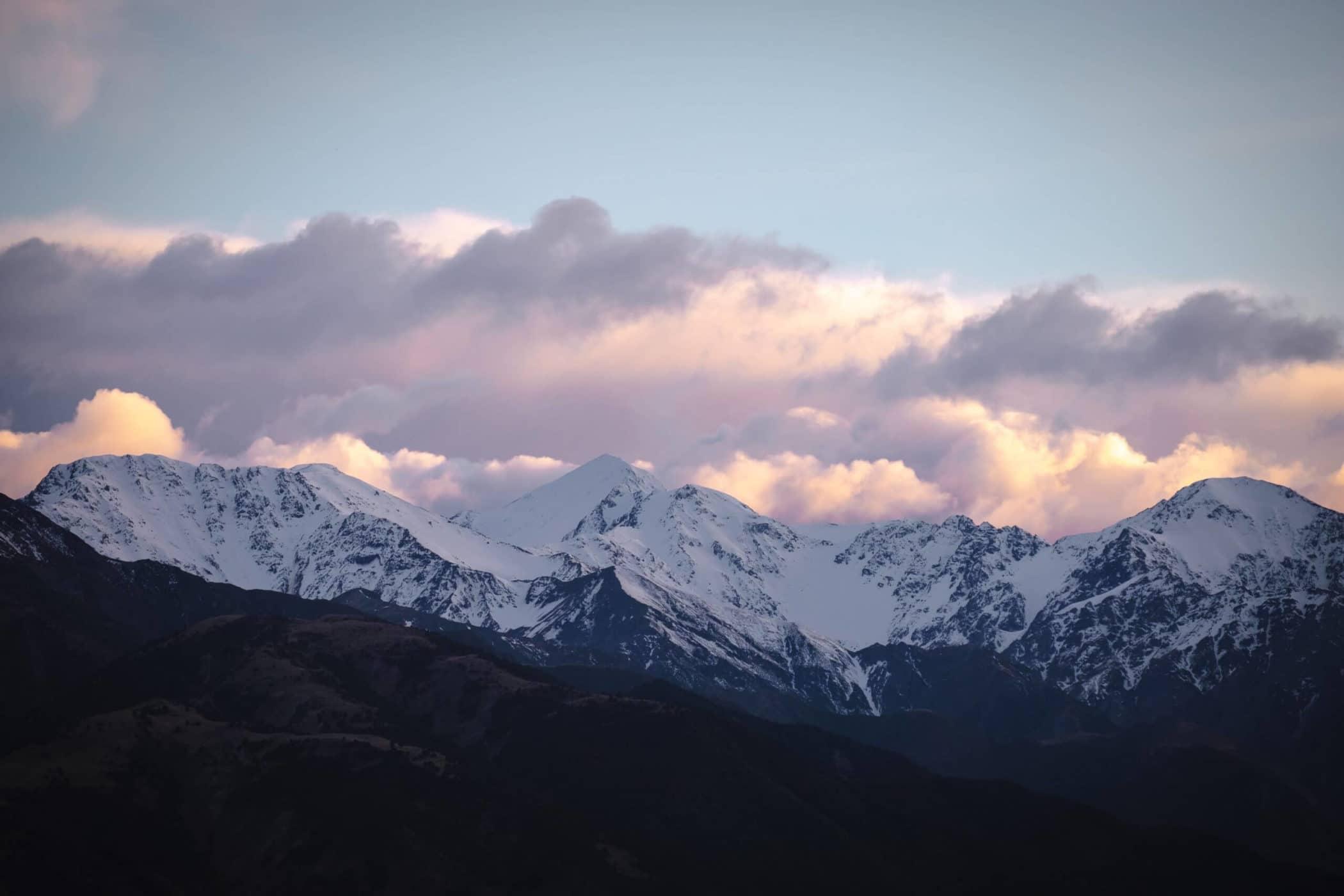 Mountaintop sunrise over Kaikoura, New Zealand