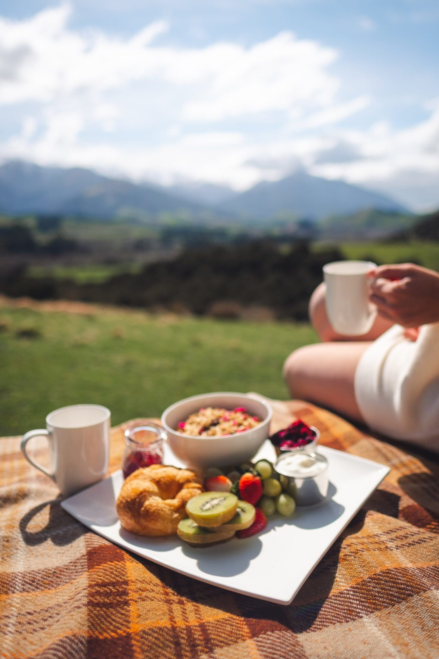 Enjoying a local breakfast from Purepods in Kaikoura, South Island NZ