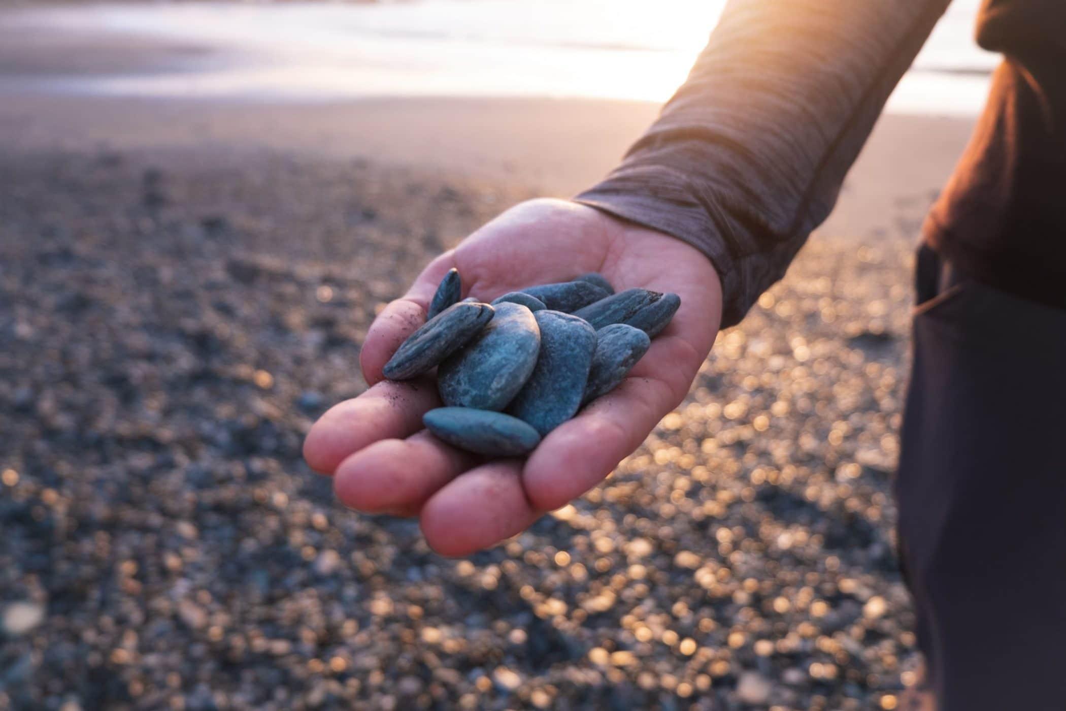 Finding greenstone on the beach in Hokitika, New Zealand