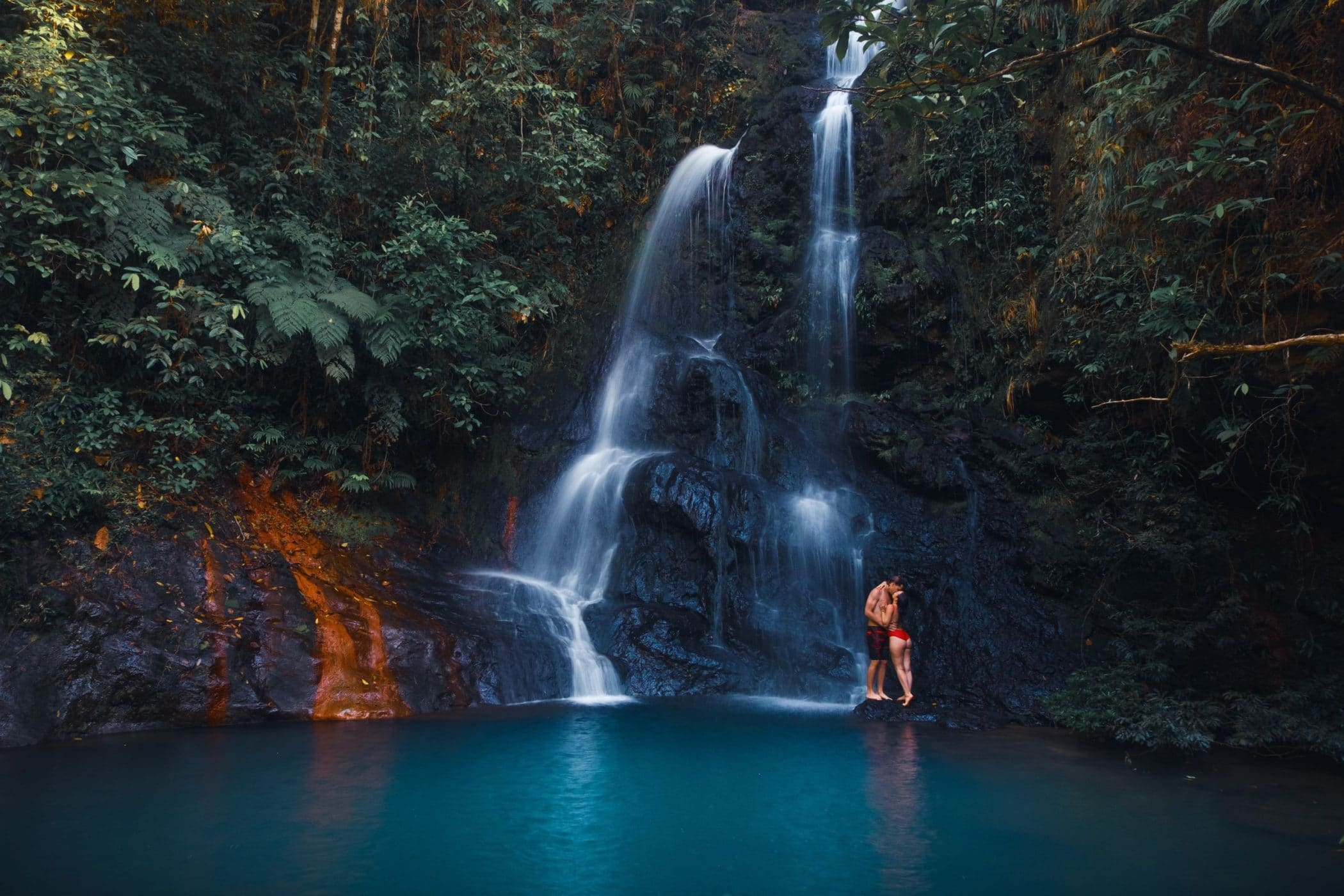 Romantic picture at waterfall in the jungle