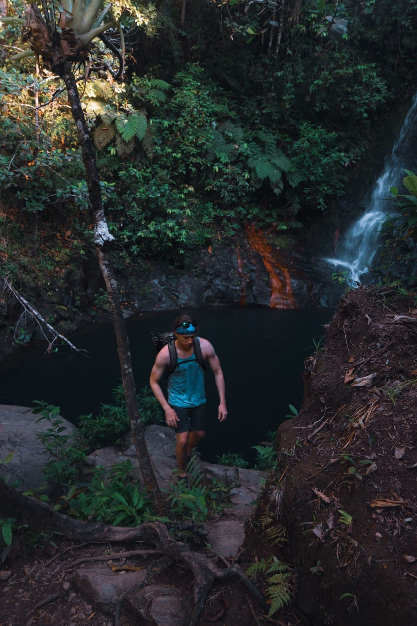 Find upper Tiger Fern Falls by following the staircase to the right of the lower falls