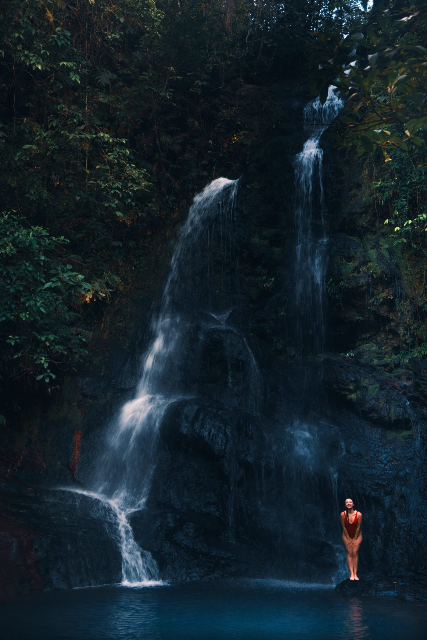 Hiking trail ending at a waterfall and swimming pool