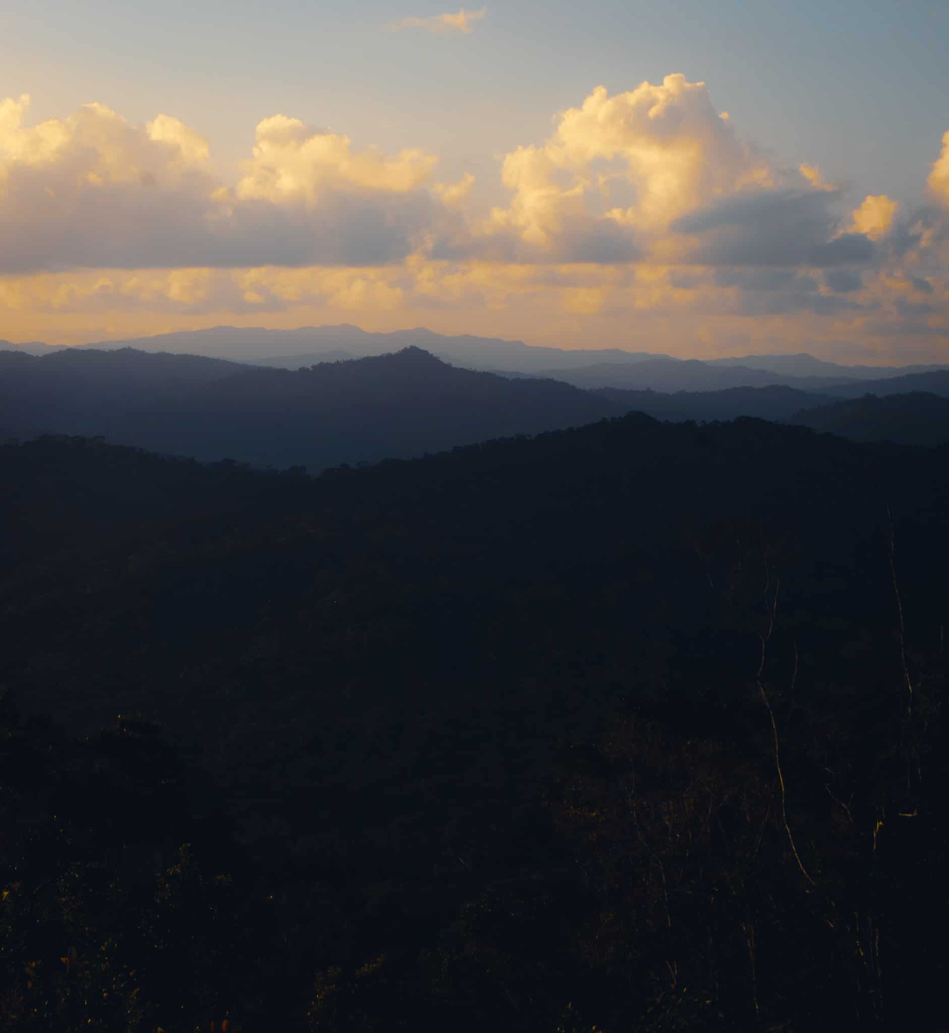Sunset from the mountain, most beautiful hike in Belize