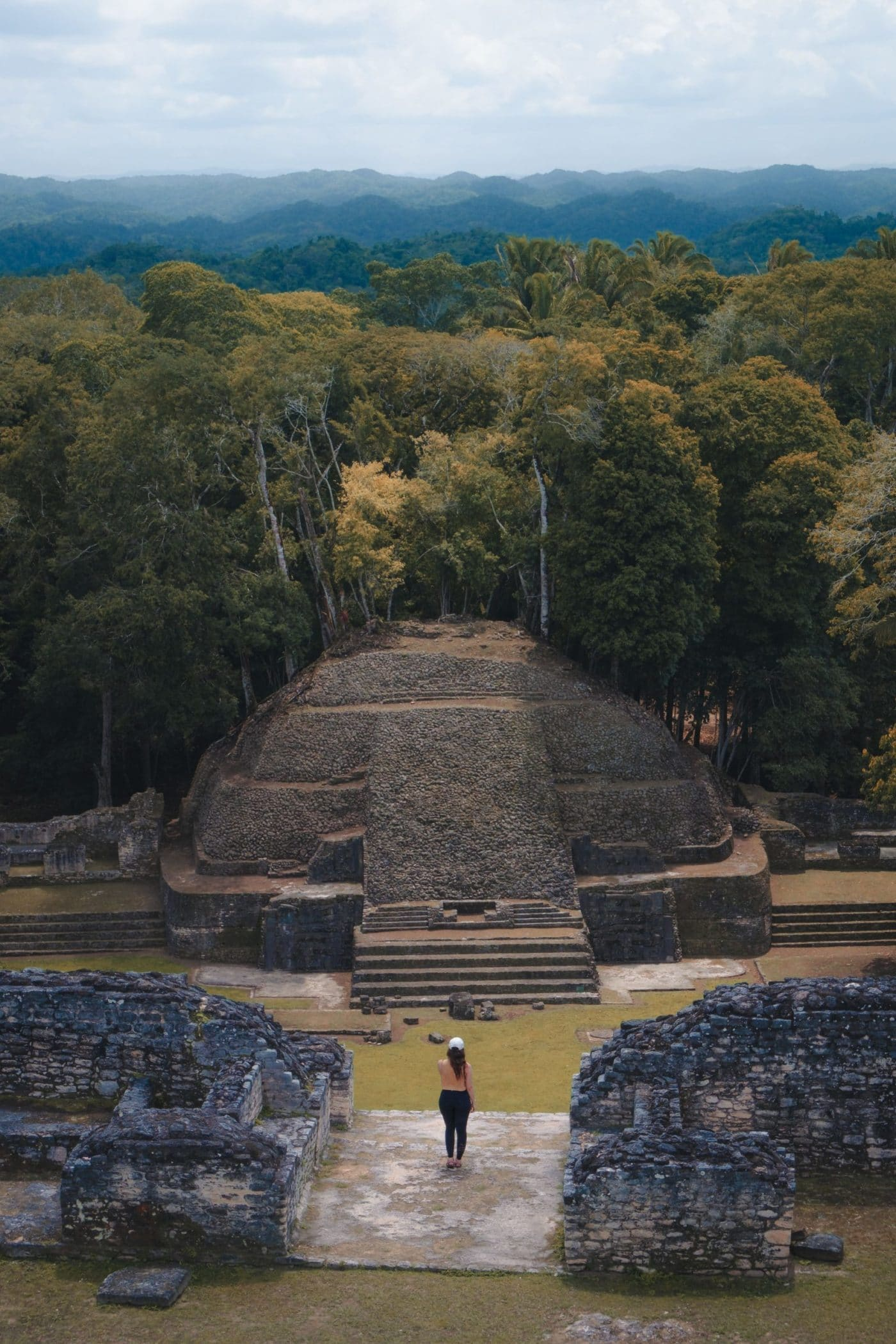 Girl traveling Belize and visiting Mayan Ruins