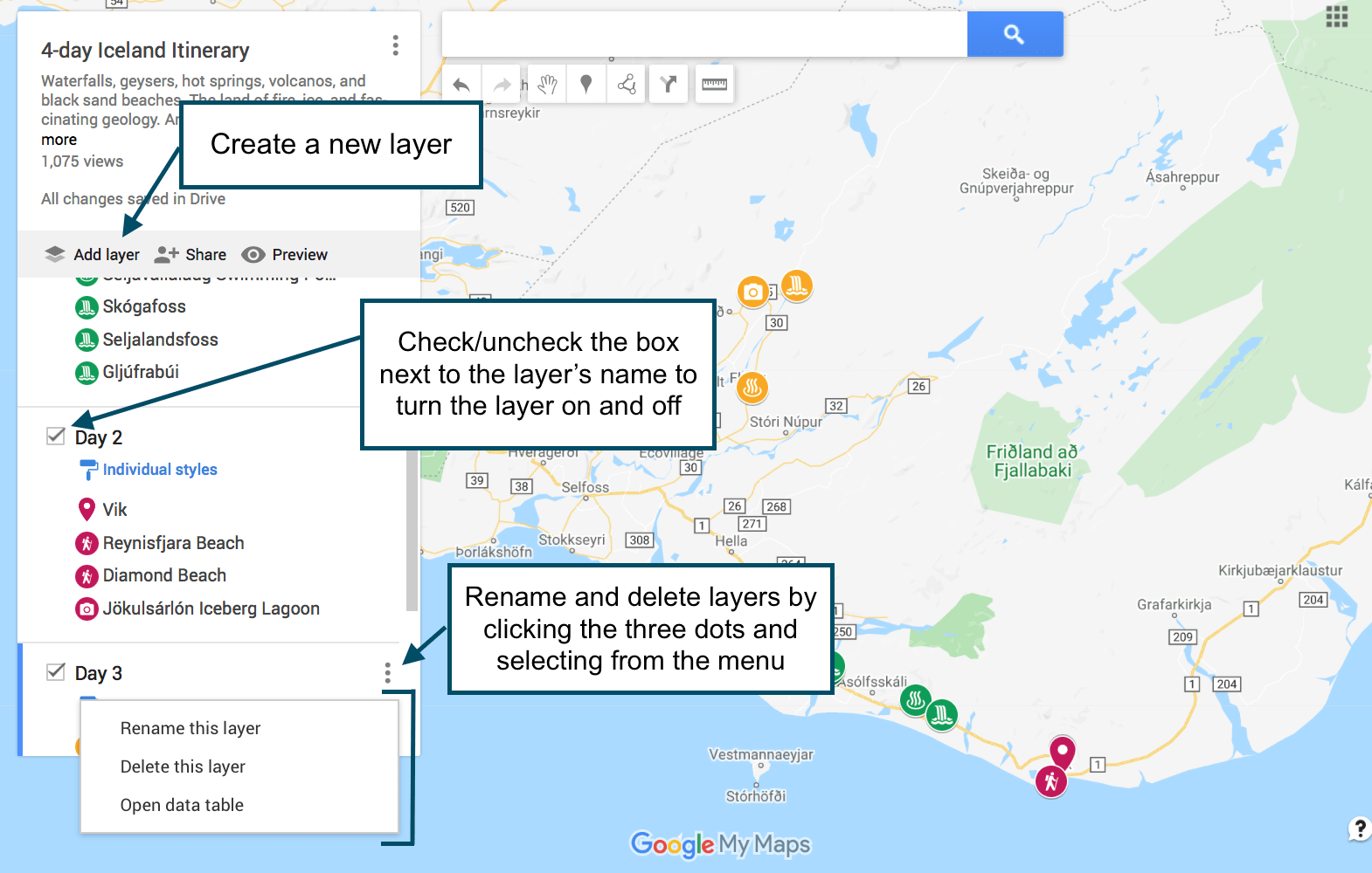 How to use layers in Google Maps to create a custom travel itinerary