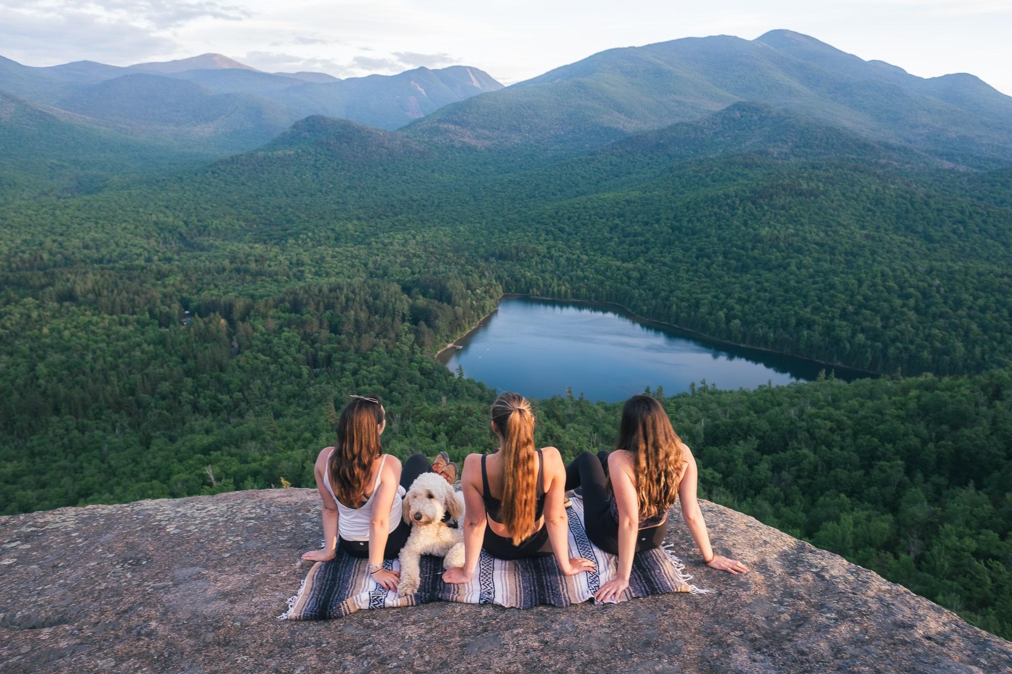 friends at the summit of Mt Jo near Lake Placid, NY