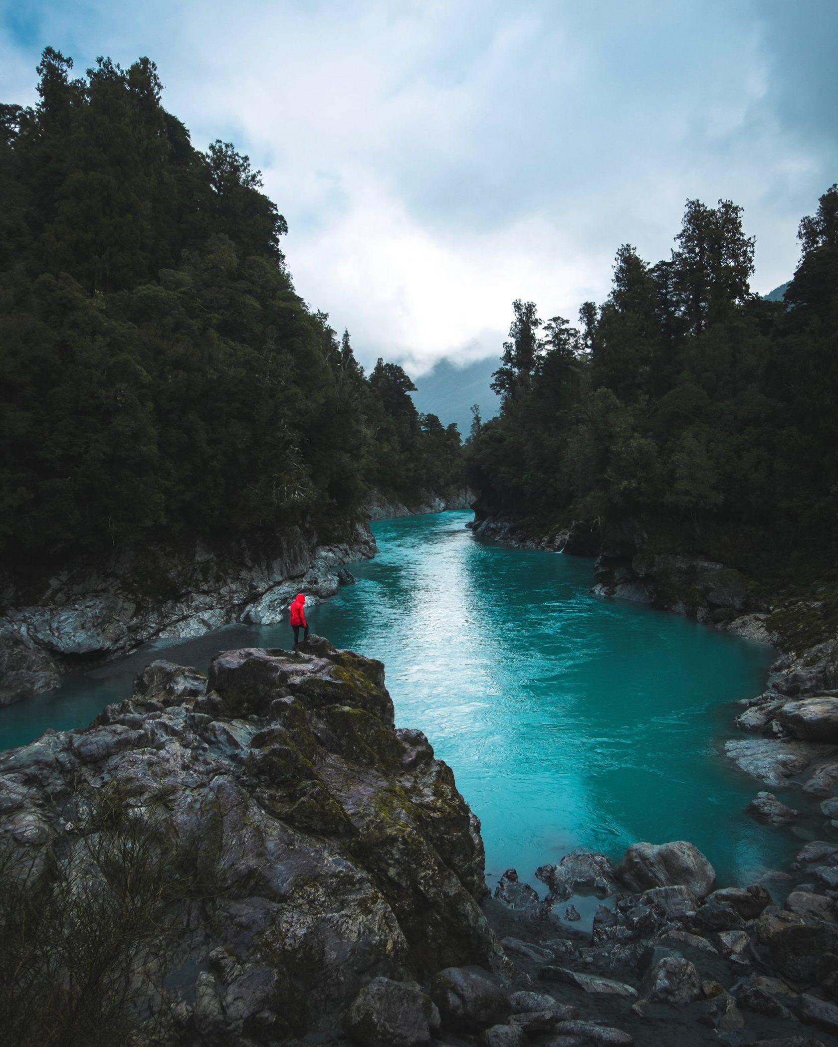 Unique perspective of Hokitika Gorge, New Zealand