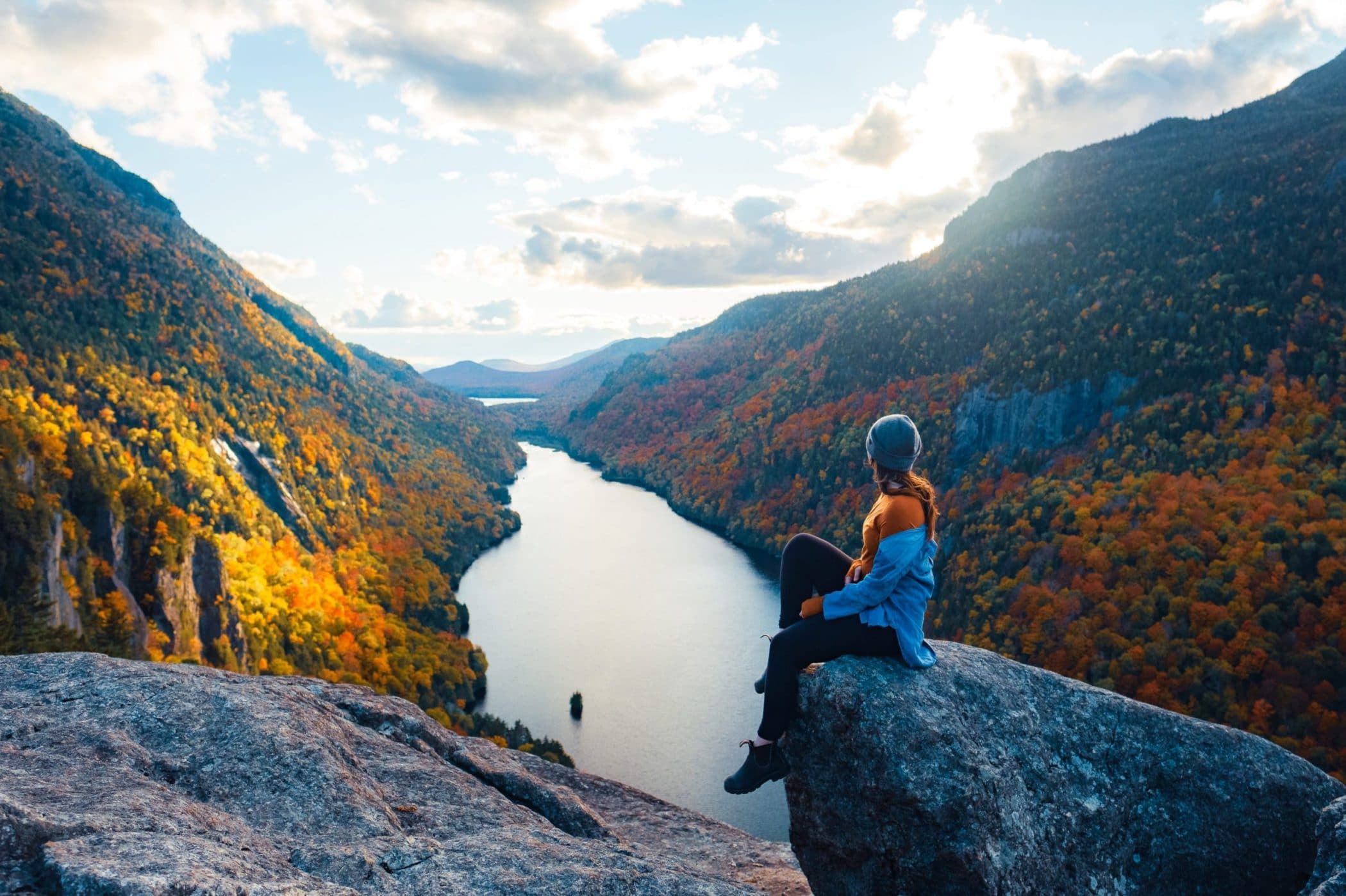 Indian Head and Fish Hawk Cliffs Hike overlooking Lower Ausable Lake
