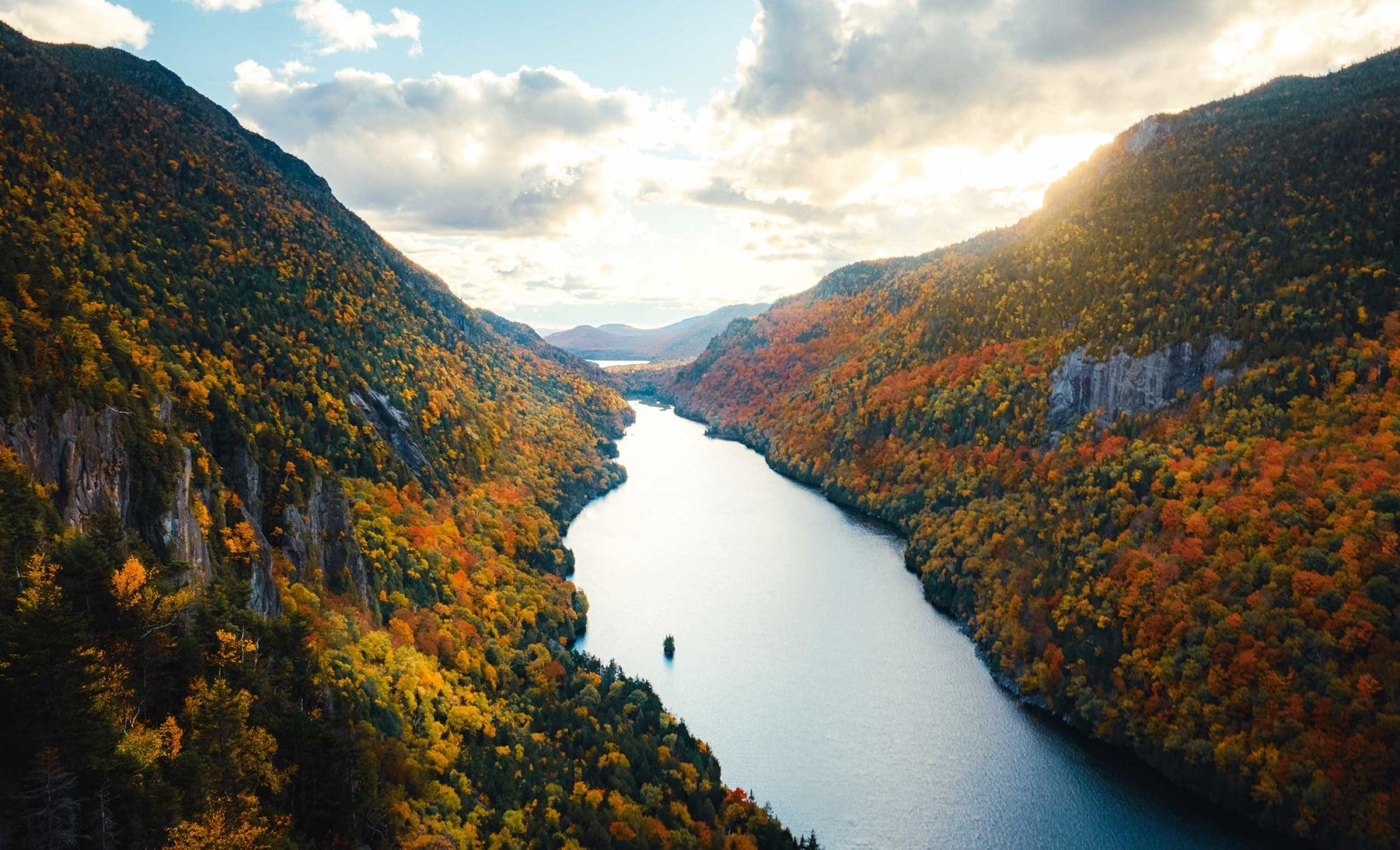 View of Lower Ausable Lake from Fish Hawk Cliffs, Keen Valley, Adirondacks