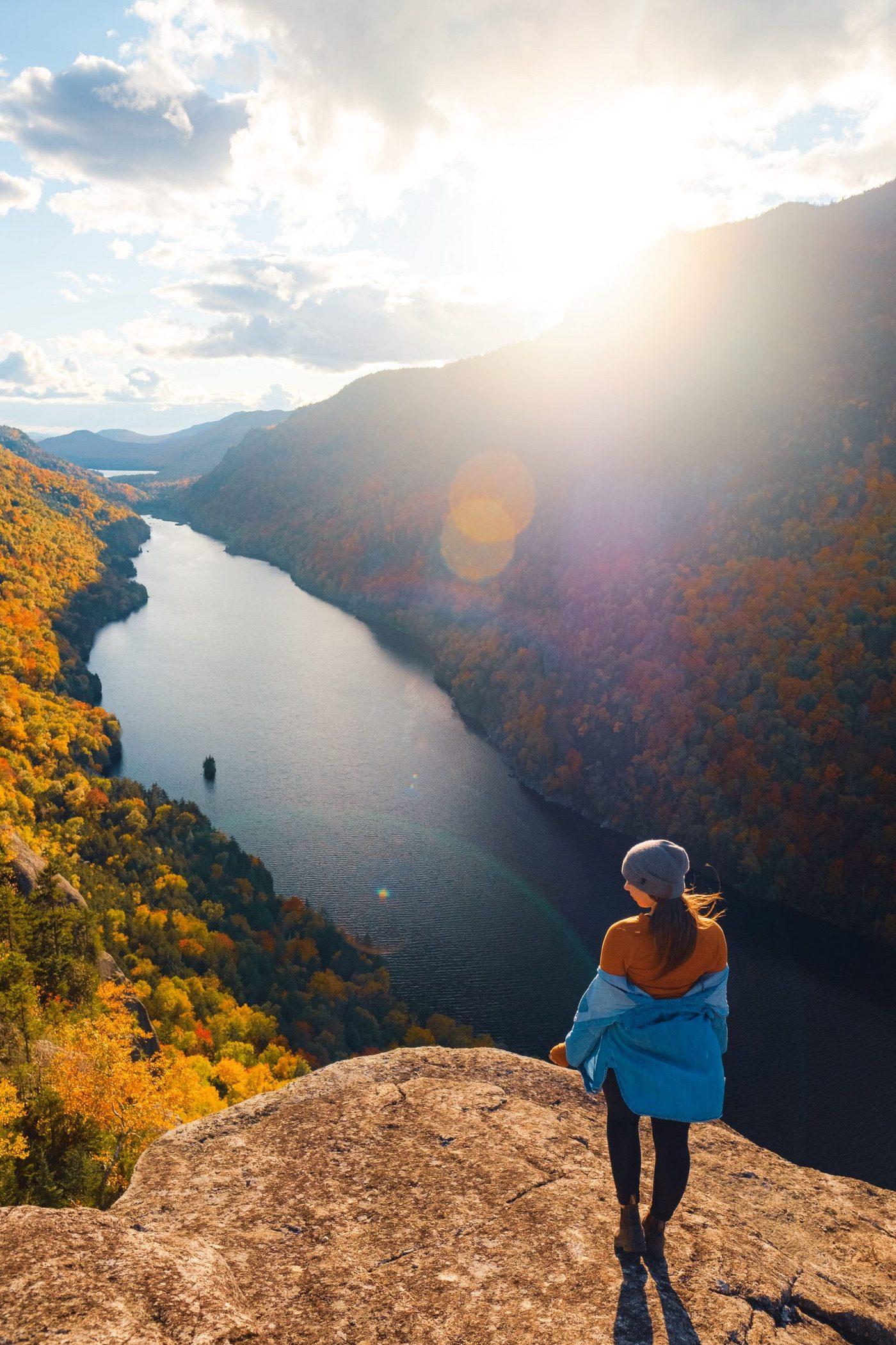 Hiking Indian Head, Adirondacks at Sunset