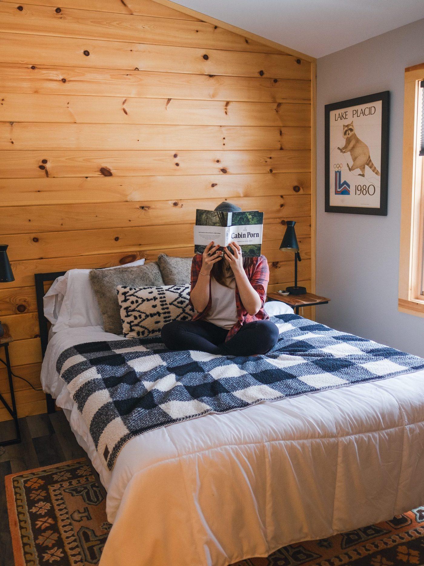 master bedroom at Juniper Hill Cabin in Wilmington, NY