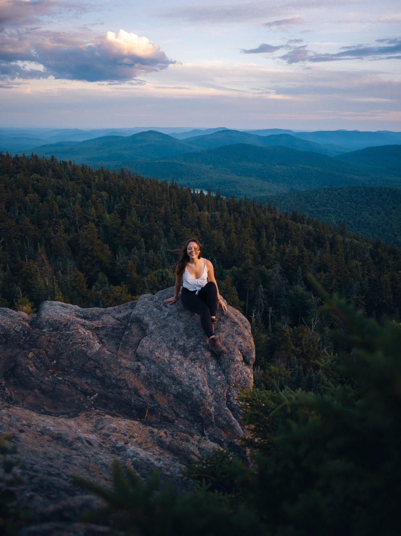 crane mountain at sunset