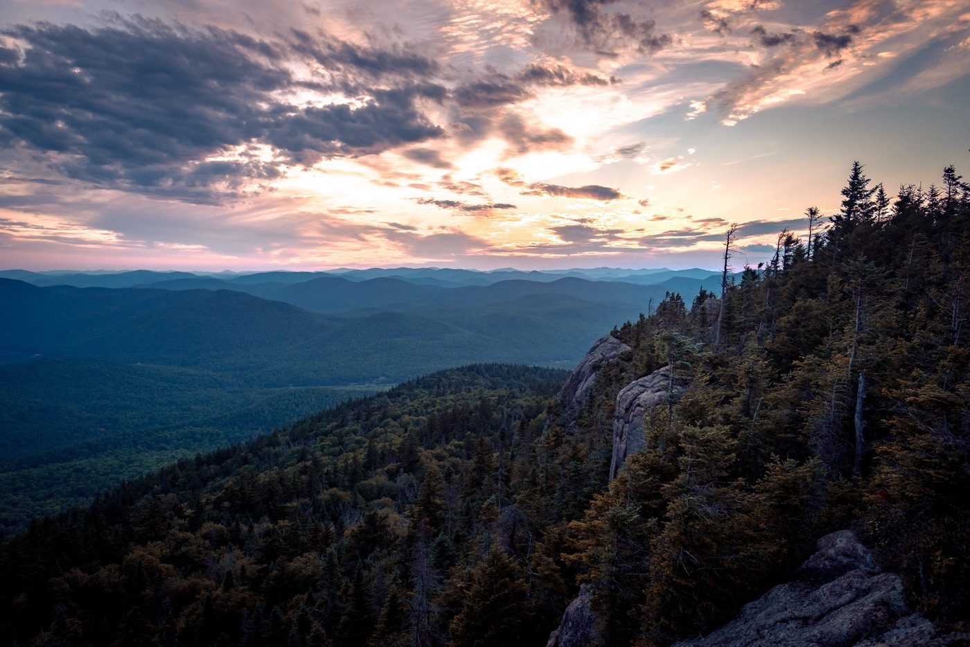 crane mountain summit at sunset