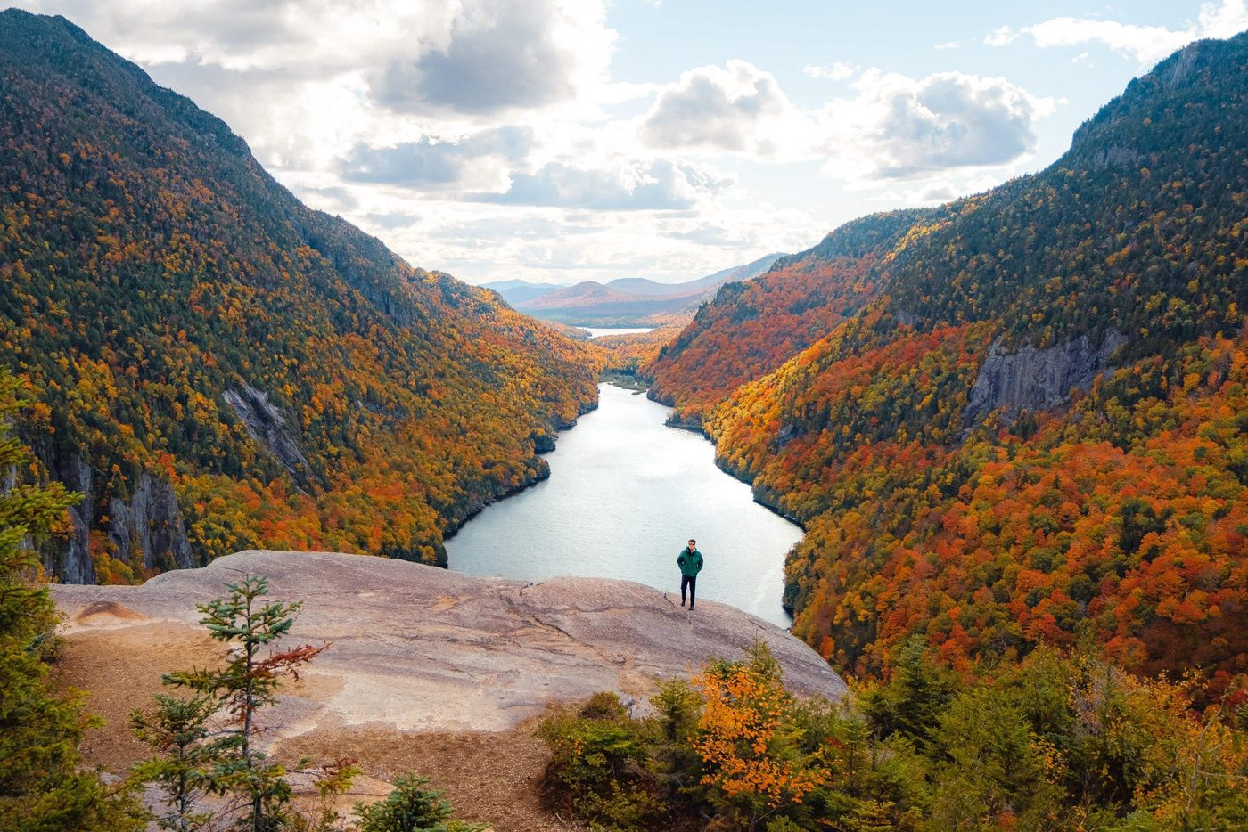 View from Indian Head Hike, Adirondacks in the fall
