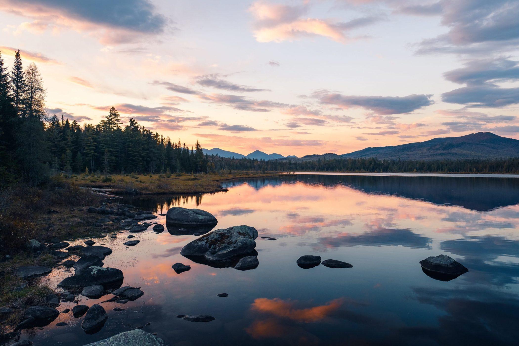 Adirondack pond at sunset