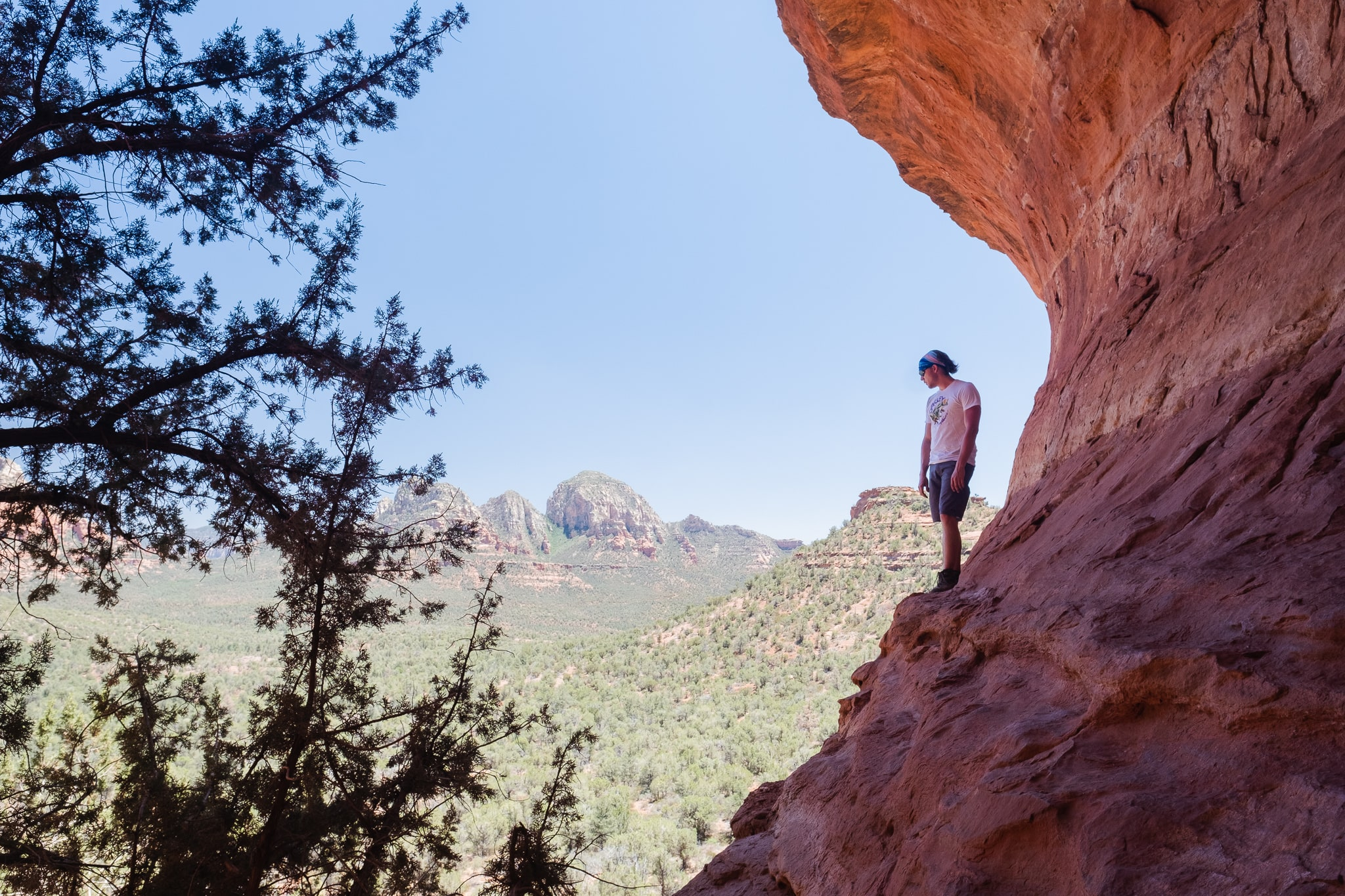 standing on the ledge of the hidden birthing cave