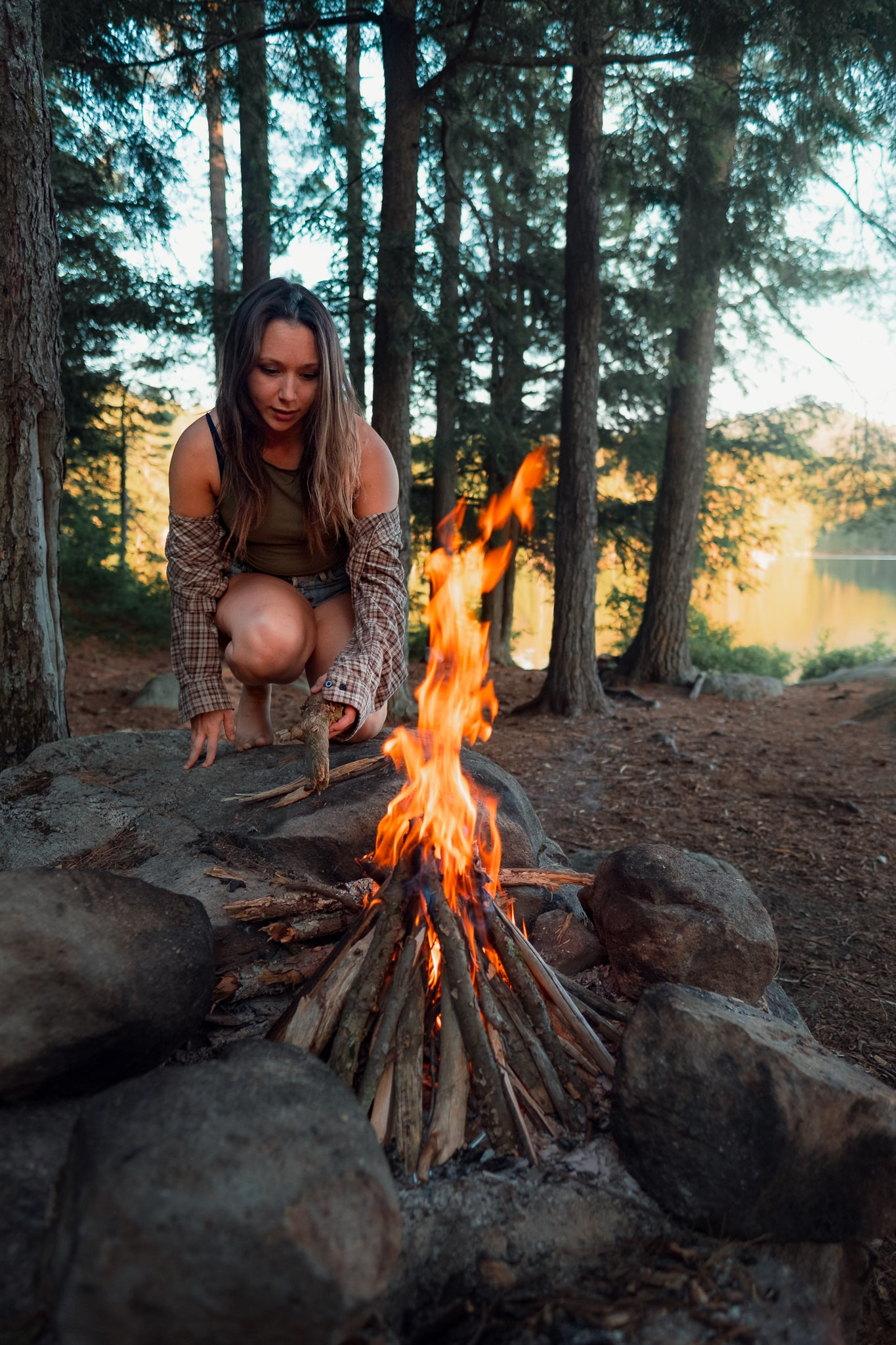 Campfire at Copperas Pond in Lake Placid in Upstate New York